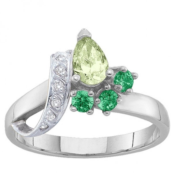 2-7 Stones Ribbon Solid White Gold Ring