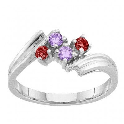 2-7 Winged Accents Solid White Gold Ring