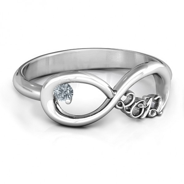 2012 Infinity Solid White Gold Ring