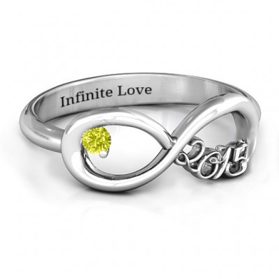 2015 Infinity Solid White Gold Ring