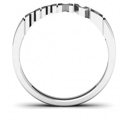 2019 Roman Numeral Graduation Solid White Gold Ring