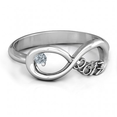 2017 Infinity Solid White Gold Ring