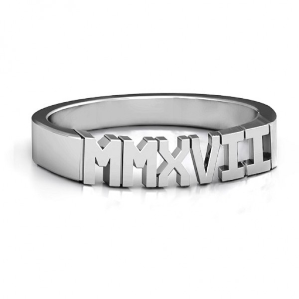 2017 Roman Numeral Graduation Solid White Gold Ring