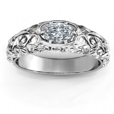2018 Vintage Graduation Solid White Gold Ring