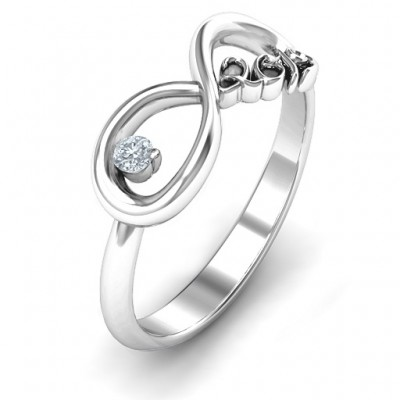 2019 Infinity Solid White Gold Ring