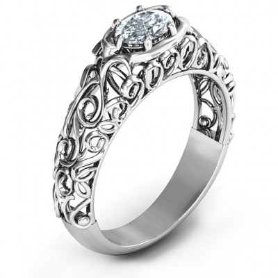 2020 Vintage Graduation Solid White Gold Ring
