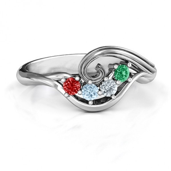 3 - 8 Stone Swirl Solid White Gold Ring