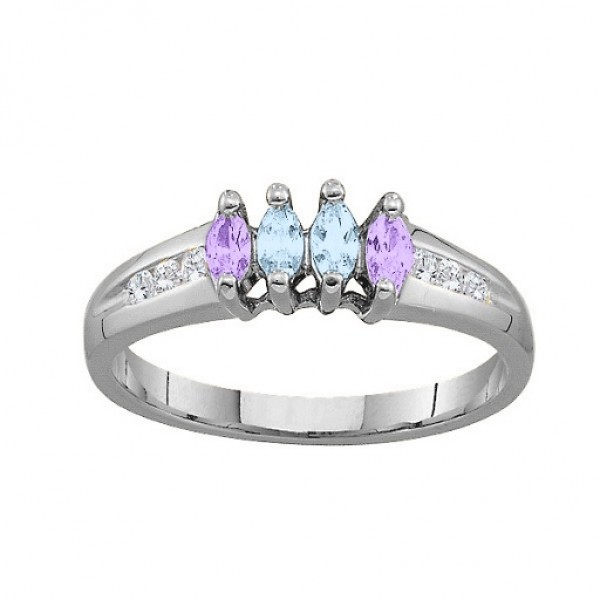 3-6 Marquise Solid White Gold Ring With Channel Set Accents