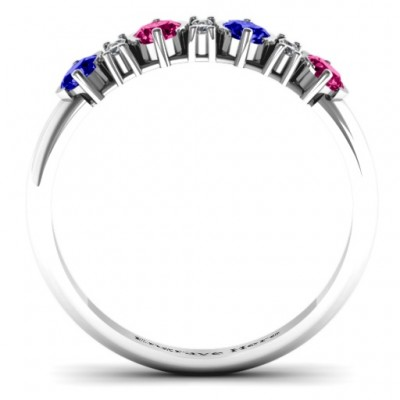 3-6 Stone Circular Half Bezel and Twin Accent Solid White Gold Ring