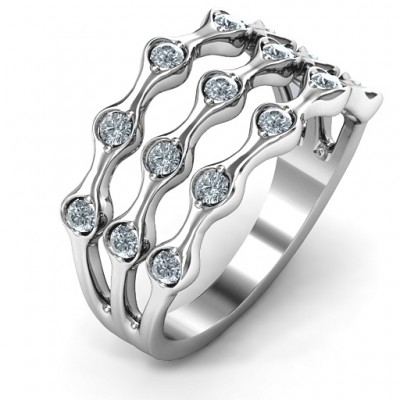 3 Row Fashion Wave Solid White Gold Ring