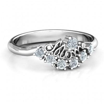 4 - 9 Stone Mom's Glimmering Love Solid White Gold Ring
