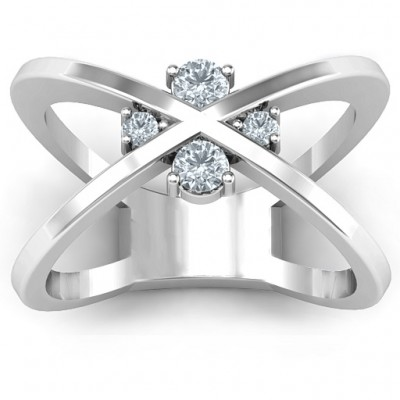 4 Stone Crossover Solid White Gold Ring