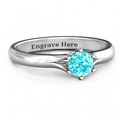 6 Prong Solitaire Solid White Gold Ring