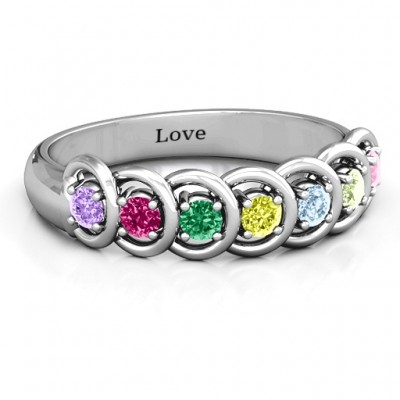 6 to 9 Stones in Halo Solid White Gold Ring