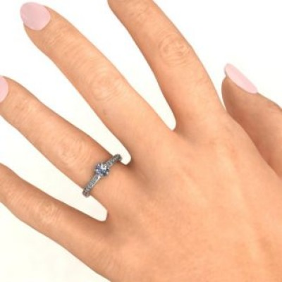 8 Prong Solitaire Set Solid White Gold Ring with Twin Channel Accent Rows
