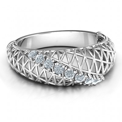 9 Stone Geometric Mesh Solid White Gold Ring