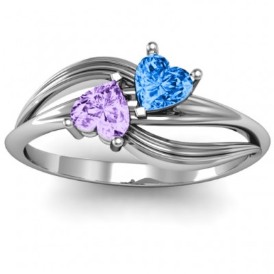 A Couple of Hearts Solid White Gold Ring with Cubic Zirconias Stones
