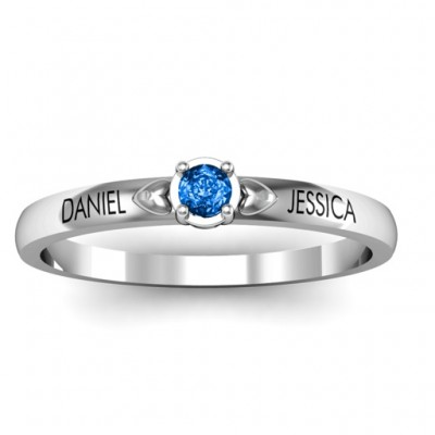 Heart Surrounded Solitaire Solid White Gold Ring