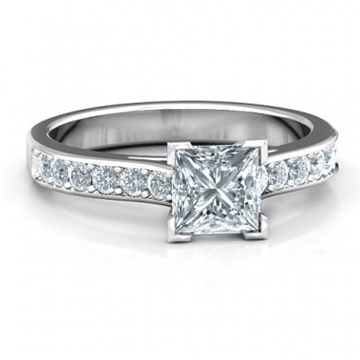 Janelle Princess Cut Solid White Gold Ring