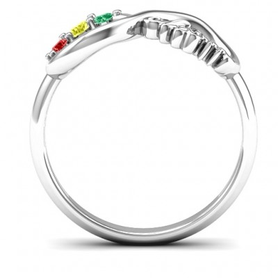 Mom's Infinite Love Solid White Gold Ring with 2-10 Stones and 3 Cubic Zirconias Stones