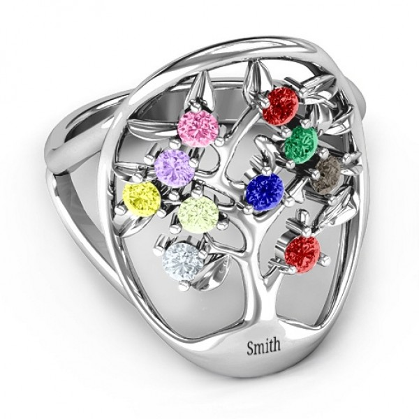 Oval Family Tree Solid White Gold Ring