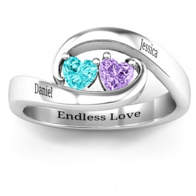 Pair of Hearts Solid White Gold Ring
