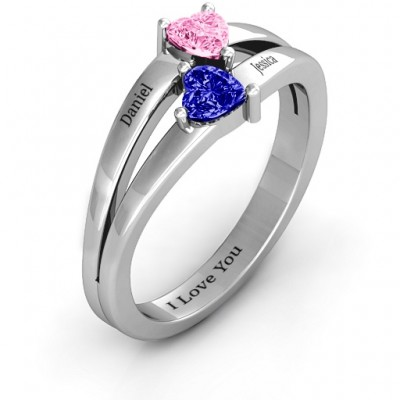Twin Hearts Solid White Gold Ring