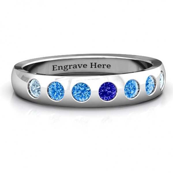 Gypsy Set Gemstone Belt Solid White Gold Ring