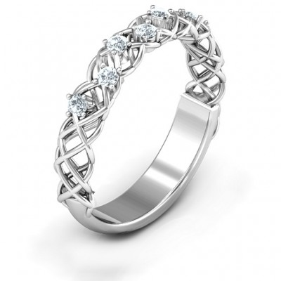 Stones Woven in Love Solid White Gold Ring with Emerald (Simulated) Stones