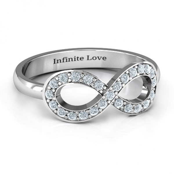 Accented Infinity Solid White Gold Ring