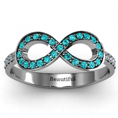 Accented Infinity Solid White Gold Ring with Shoulder Stones
