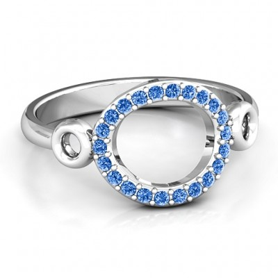 Accented Karma Solid White Gold Ring
