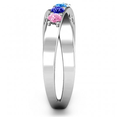 Across My Heart 4-Stone Solid White Gold Ring