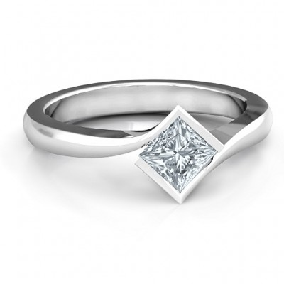 Alexandra Princess Cut Solid White Gold Ring