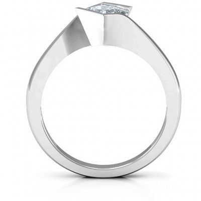 Alexandra Princess Cut Solid White Gold Ring