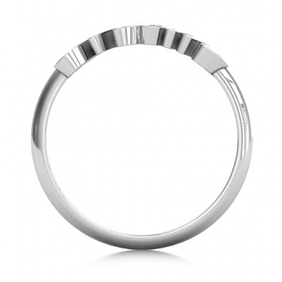 All About Mom Name Solid White Gold Ring