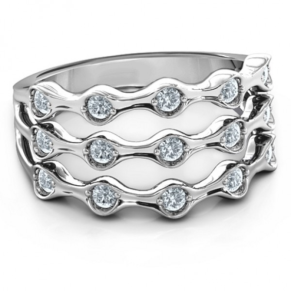 Alternating Stone Fashion Wave Solid White Gold Ring