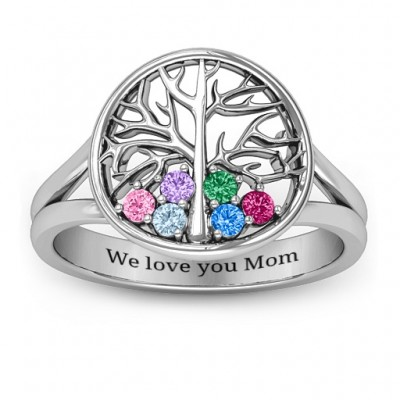 Always Around Love 6 Stone Family Tree Solid White Gold Ring