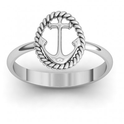 Anchor Solid White Gold Ring