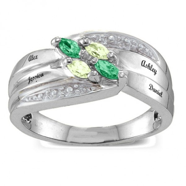 Angled 2-6 Marquise Solid White Gold Ring