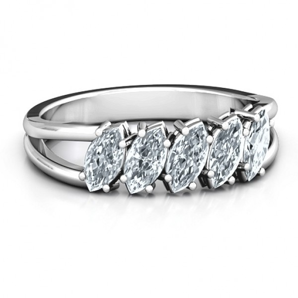 Angled Marquise Solid White Gold Ring