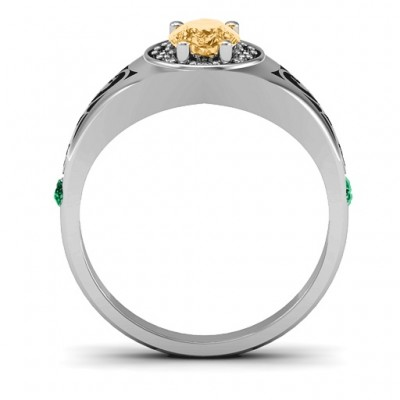 Aphrodite Solid White Gold Ring with Side Gems