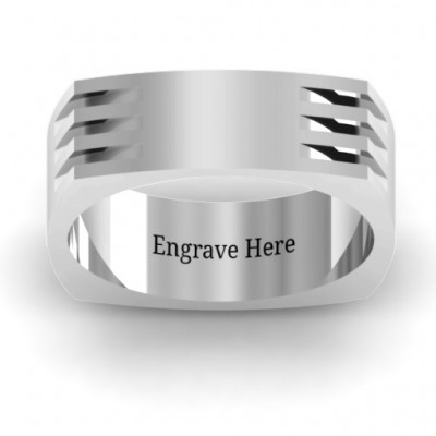 Areo Grooved Square-shaped Men's Solid White Gold Ring