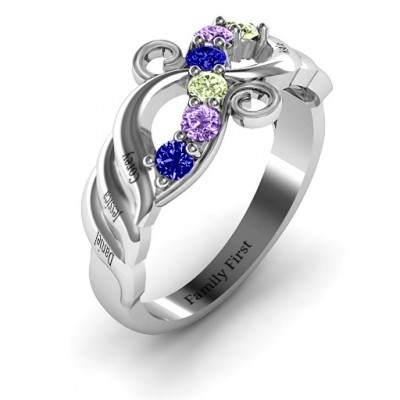 Ariel Wave and Swirl Solid White Gold Ring