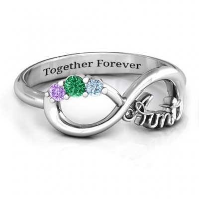Aunt's Infinite Love Solid White Gold Ring with Stones
