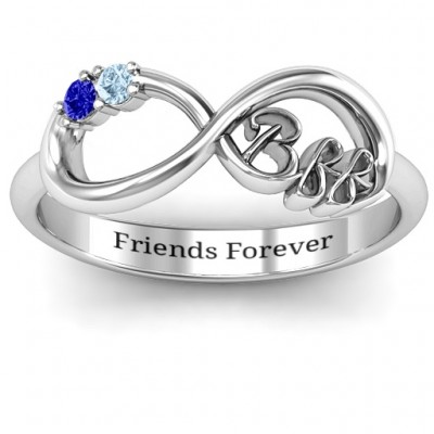 BFF Friendship Infinity Solid White Gold Ring with 2 - 7 Stones