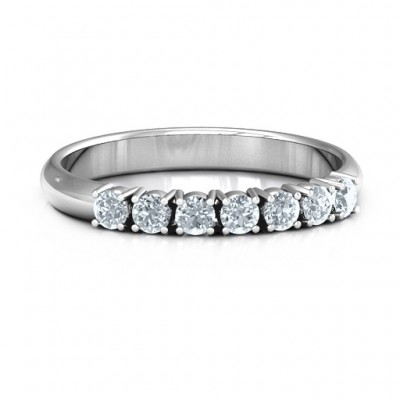 Band of Eternity Solid White Gold Ring