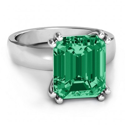 Basket Set Emerald Cut Solid White Gold Ring