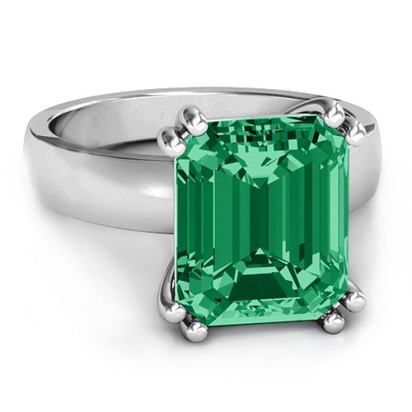 Basket Set Emerald Cut Solid White Gold Ring