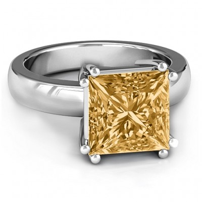Basket Set Princess Cut Solitaire Solid White Gold Ring
